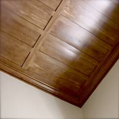 Faux wood grain ceiling